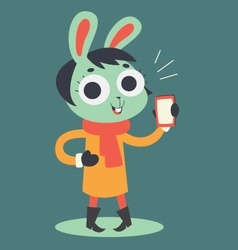 Cute Bunny Girl Holding a Cell Phone vector image vector image