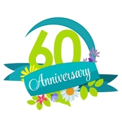 Cute nature flower template 60 years anniversary vector