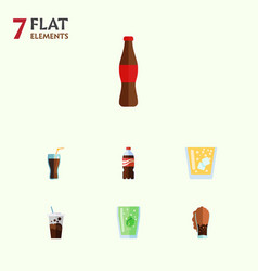 Flat icon drink set of cup bottle fizzy drink vector