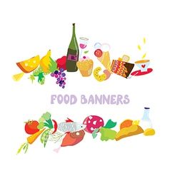 Food banners set cartoon vector