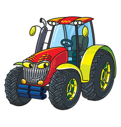 Funny small tractor with eyes vector