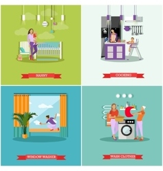 Housewife concept posters Housekeeper vector image