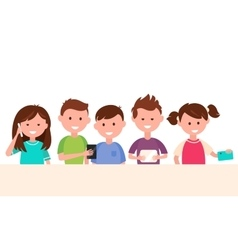Kids Using Their Gadgets Children and Technology vector image