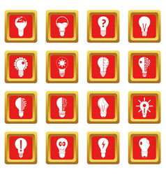 Lamp logo icons set red vector