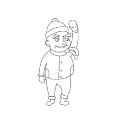 Little boy in winter clothes cartoon style vector image