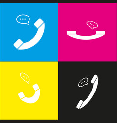 phone with speech bubble sign white icon vector image