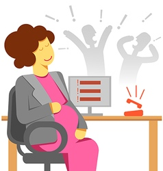 Pregnant woman office stress vector