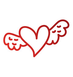 Romantic winged heart symbolising romance and love vector