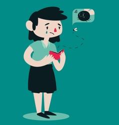Sad Broken Woman Opening Wallet vector image vector image