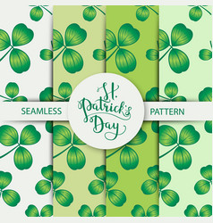 Seamless clover pattern set with three leaf vector