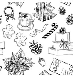 seamless pattern with set of christmas decoration vector image vector image