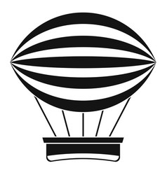 striped retro hot air balloon icon simple style vector image