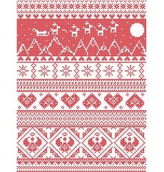 Tall xmas pattern santas sleigh reindeers vector