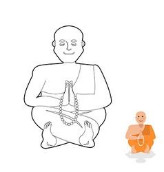 Tibetan monk coloring book yoga buddhist tibet vector