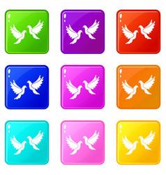 wedding doves set 9 vector image