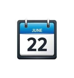 June 22 Calendar icon flat vector image