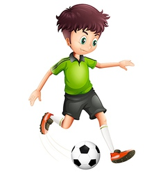 A boy with a green shirt playing soccer vector