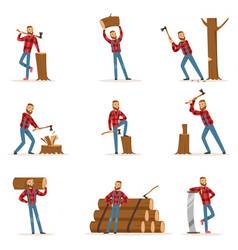 Classic american lumberjack in checkered shirt vector