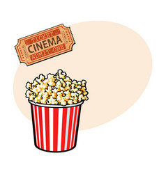 Cinema objects - popcorn bucket and retro style vector