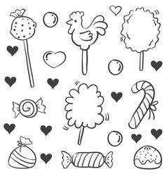 Doodle of candy sweet sketch collection vector