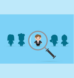 Businessman and magnifying glass vector