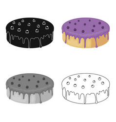 Bilberry cake icon in cartoon style isolated on vector