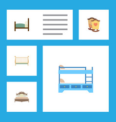 Flat mattress set of bed bunk bed cot and other vector
