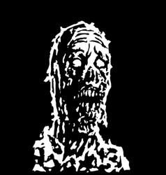 Creepy zombie head vector