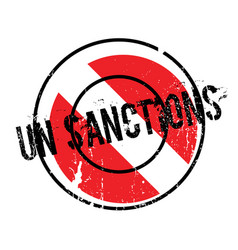 Un sanctions rubber stamp vector