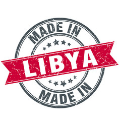 Made in libya red round vintage stamp vector