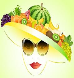 Girl and summer fruits vector