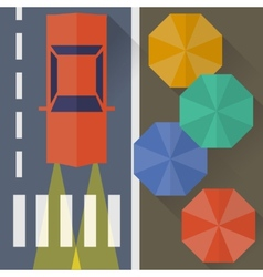 Autumn city rain a top view flat style vector