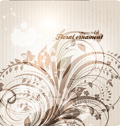 Retro floral ornament design vector