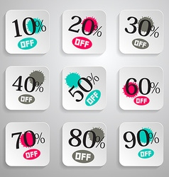 Paper rounded squares discount sale splashes set vector