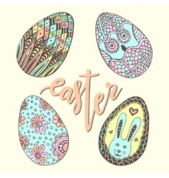 Cute easter eggs doodle hand drawn set happy vector