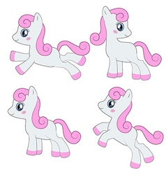 Cute pony collection vector
