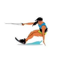 Wakeboarding Girl Cartoon vector image
