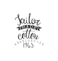 Tailor made cotton vintage emblem vector