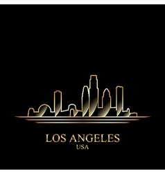 Gold silhouette of los angeles on black background vector