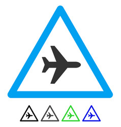 Airplane danger flat icon vector
