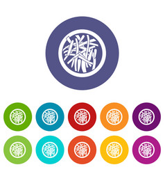 Asian salad icons set flat vector