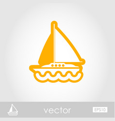 Boat with a sail outline icon summer vacation vector