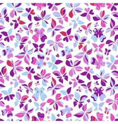 Butterflies Pattern Pink White vector image vector image