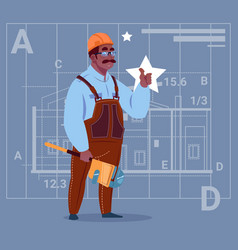 cartoon african american builder wearing uniform vector image vector image