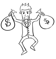 Character of businessman with money vector