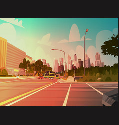 city street skyscraper buildings road view modern vector image vector image