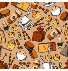 Coffee tea desserts seamless background vector