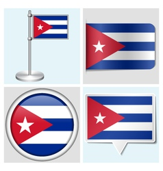 Cuba flag - sticker button label flagstaff vector image vector image