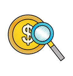 currency coin dollar money with magnifier business vector image