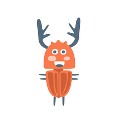 Cute cartton deer beetle colorful character vector